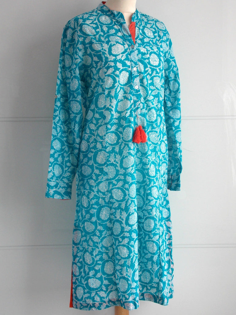 Blossom Tunic Dress - Turquoise - An Indian Summer