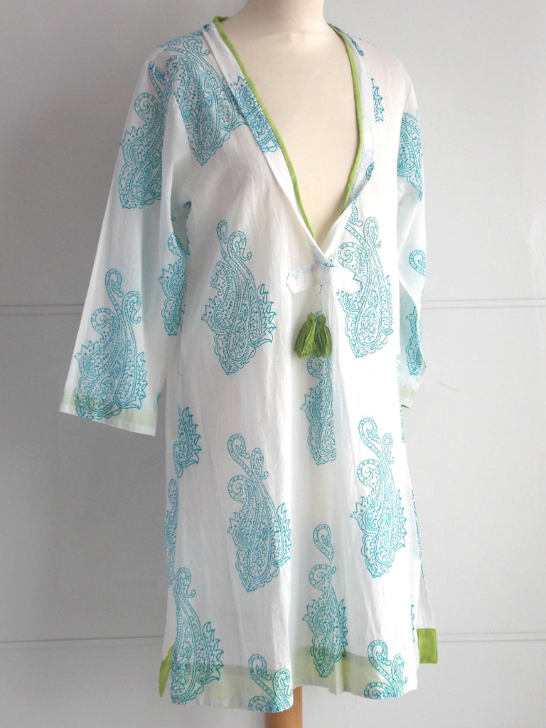 Malibu Coverup - Turquoise & Lime - An Indian Summer