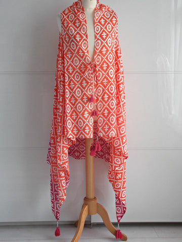 Bahamas Sleeveless Jacket Cover Up - Coral & Pink