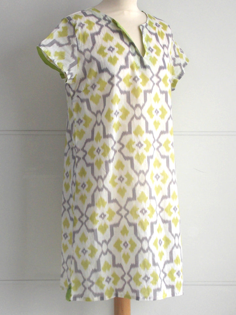Ikat Lime Grey Tunic | Cotton | An Indian Summer