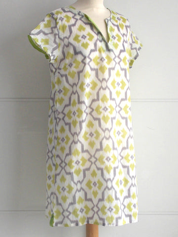 Ikat Tunic - Lime & Grey