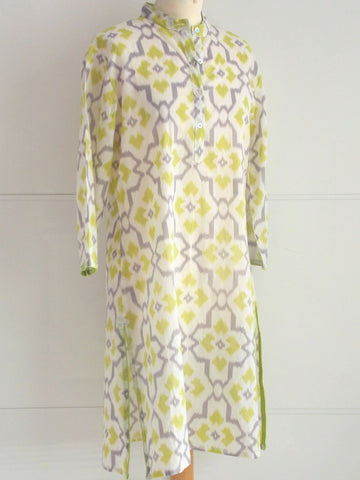 Ikat Kurta - Lime & Grey