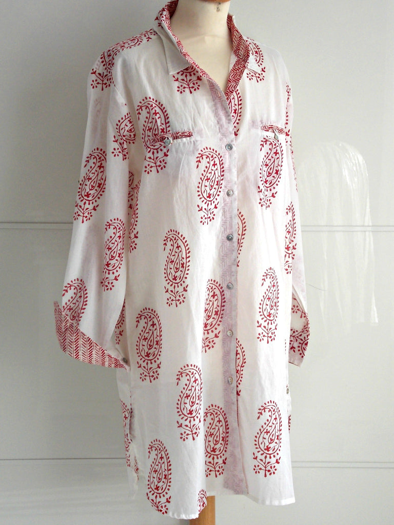Ithaca Shirt Dress Red | Hand Block Printed Paisley Pattern | Cotton | An Indian Summer