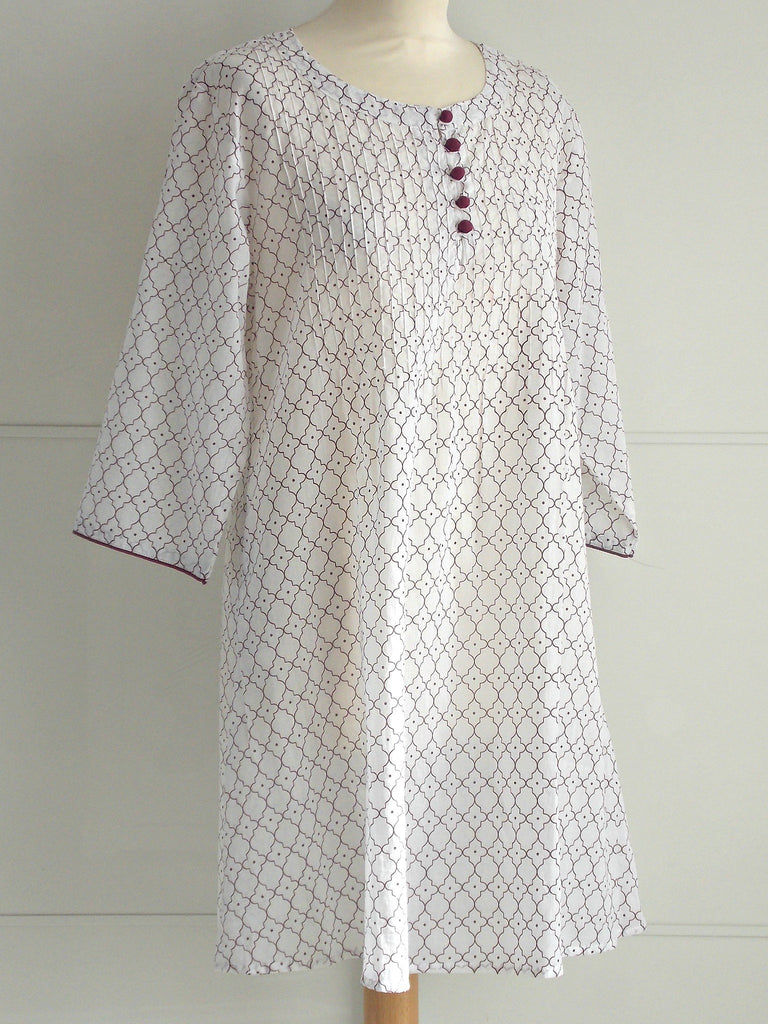 Casablanca Tunic Maroon | Hand Block Printed | Cotton | An Indian Summer