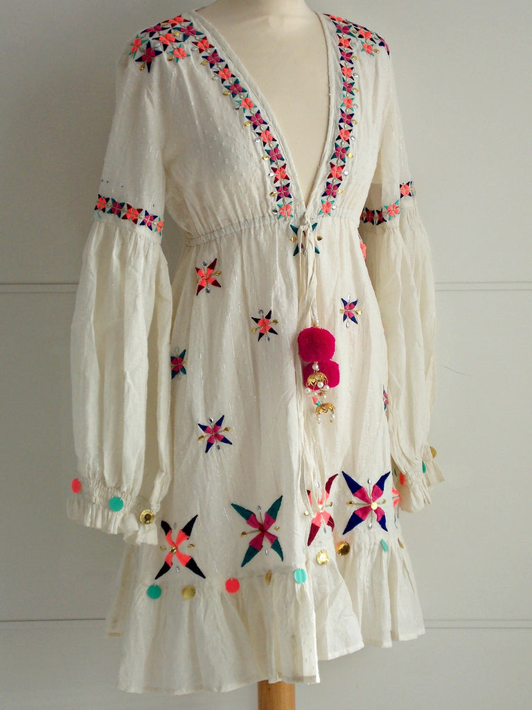 Paloma Dress Pom Poms & Embellishments | Cotton | An Indian Summer