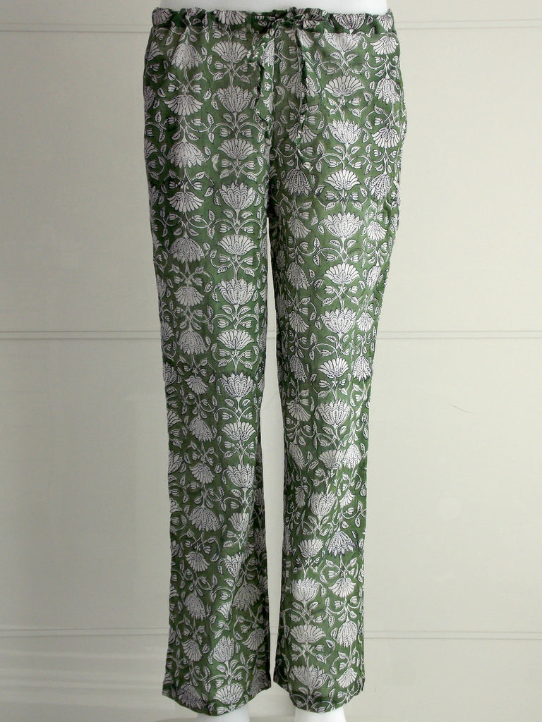 Lotus Trousers Forest Green | Floral Print | Hand Block Printed | Cotton Voile | An Indian Summer