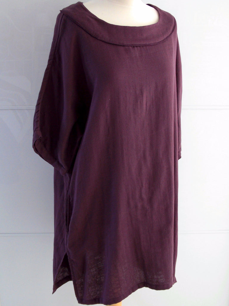 Daphne Tunic Dress - Burgundy Purple - Cotton - An Indian Summer