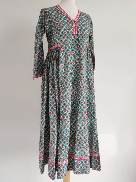 Daphne Dress - Hand Block Printed Cotton Voile - An Indian Summer