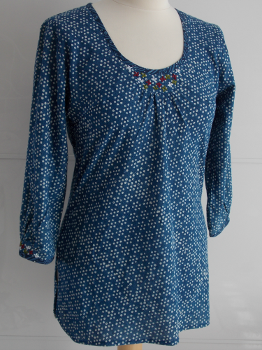 Indigo Dyed Block Print Top | Daisy | Hand Block Printed | Cotton | An Indian Summer