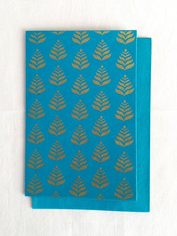 Firoza Turquoise - Set of 5 Gold Fern Motif Hand Block Printed Cards