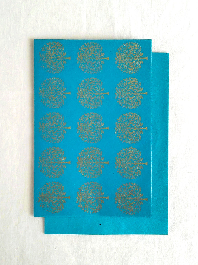 Firoza Turquoise - Set of 5 Gold Tree Motif Hand Block Printed Cards - An Indian Summer