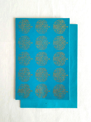 Firoza Turquoise - Set of 5 Gold Tree Motif Hand Block Printed Cards