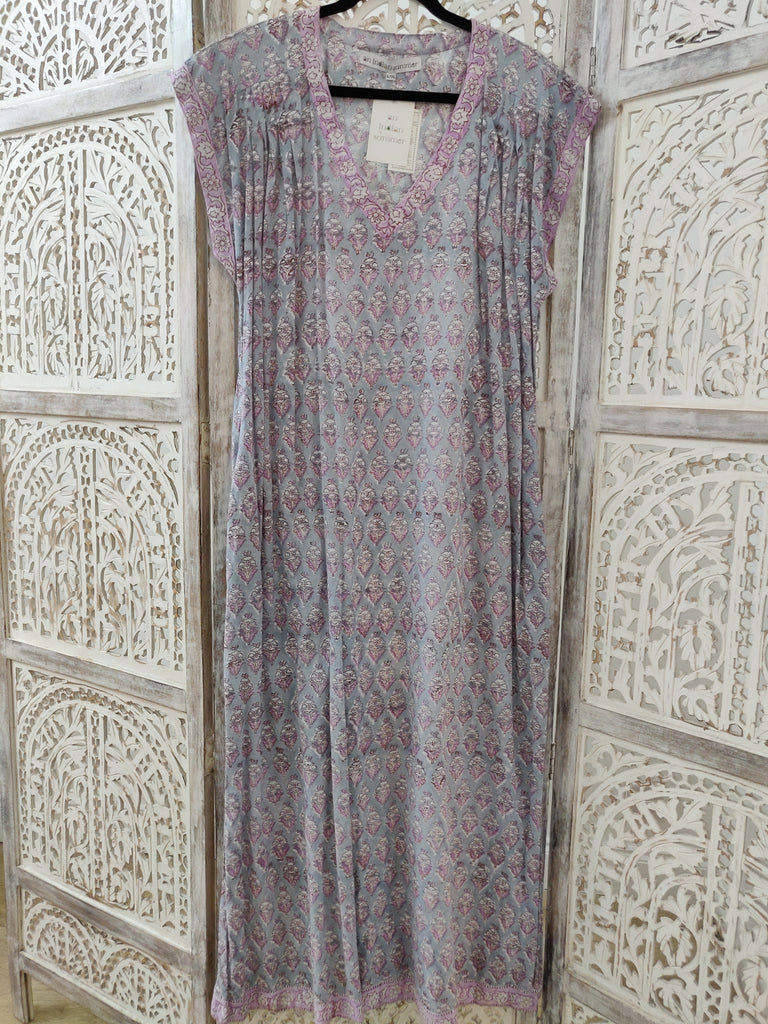 Jasmine Floral Print | Lilac Lavender Purple | Long Cover Up | Hand Block Printed | Cotton Voile | An Indian Summer