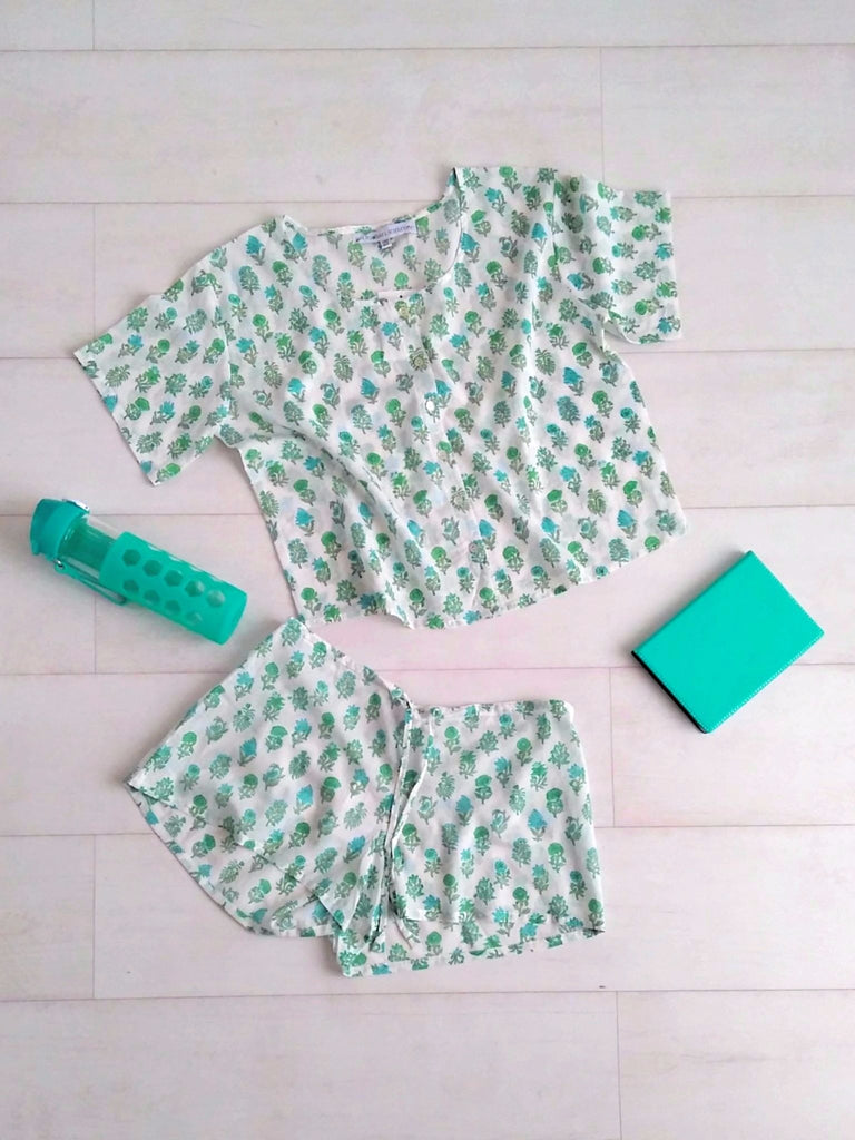 Pippa Crop Top & Shorts Set - Jade - An Indian Summer