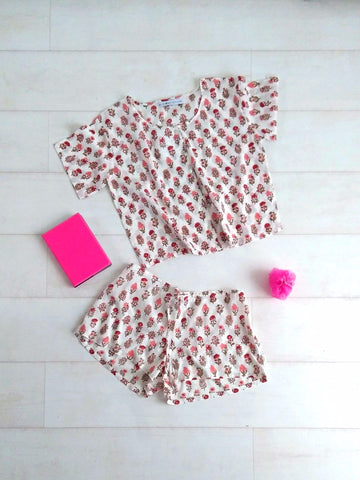 Pippa Crop Top & Shorts Set - Crimson