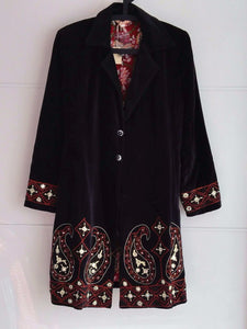 Rani Embroidered Velvet Coat - Paisley Design - An Indian Summer