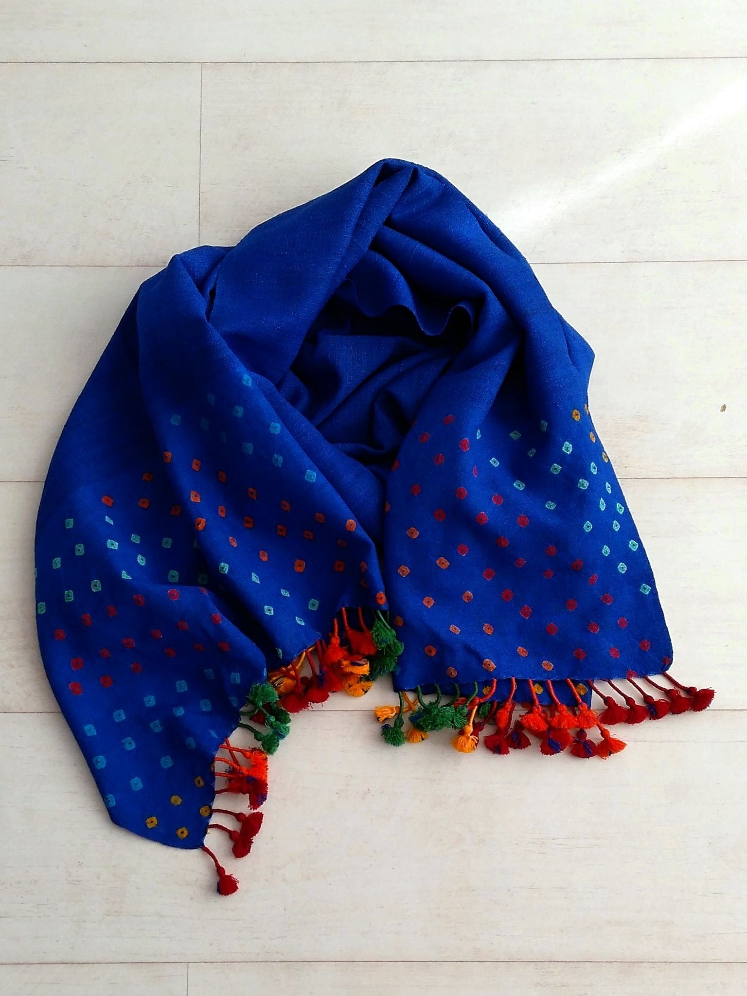 Cobalt Blue Bandhani Stole - An Indian Summer