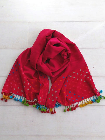 Carmine Pink Bandhani Stole - An Indian Summer