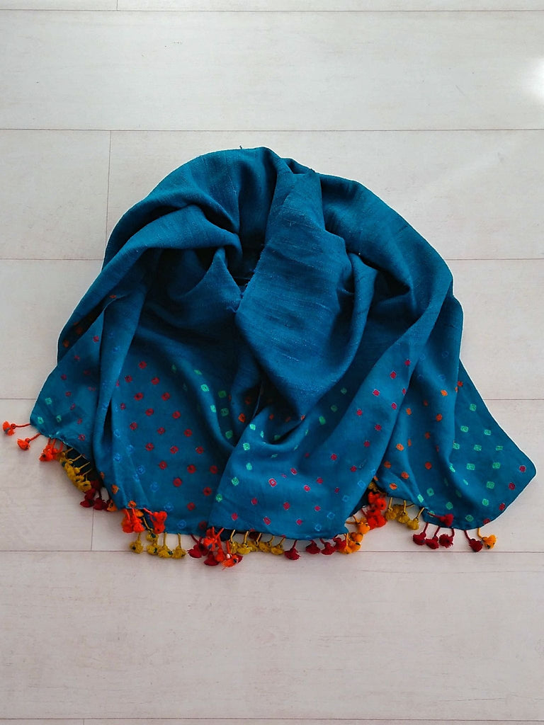 Teal Blue Bandhani Stole - Silk & Merino Wool - An Indian Summer