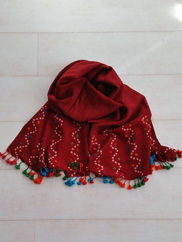 Deep Maroon Bandhani Stole - An Indian Summer