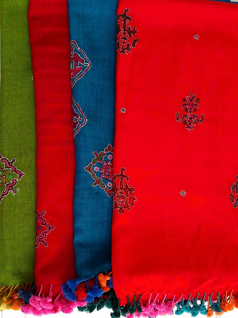 Hand Embroidered Stoles - Merino Wool - An Indian Summer