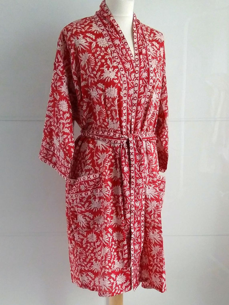 Kimono Robe - Floral Block Print - Maya - Red - An Indian Summer