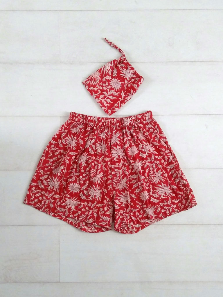 Holly Boxer Shorts - Red - Hand Block Printed - Cotton - An Indian Summer