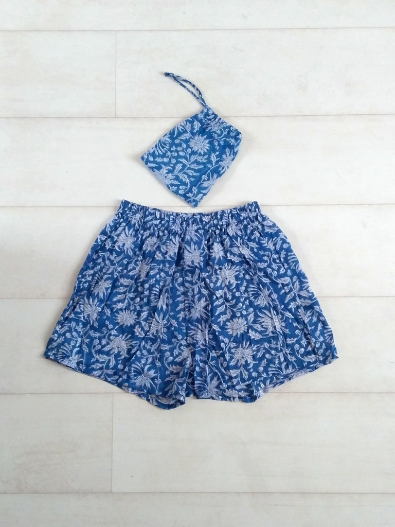 Holly Boxer Shorts - Blue - Hand Block Printed - Cotton - An Indian Summer