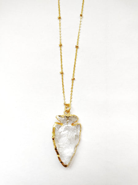 Crystal Quartz Druzy Arrowhead Necklace - An Indian Summer
