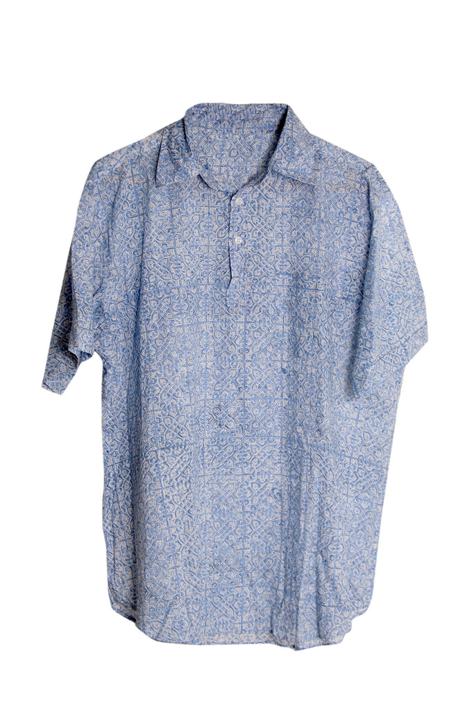 Short Sleeved Tiled Block Print Shirt - Blue & White - Cotton - An Indian Summer