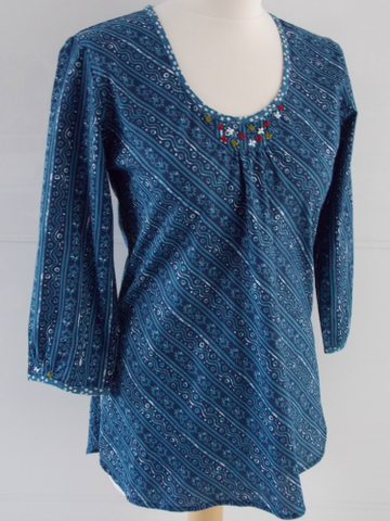 Indigo Dyed Block Print Top - Anna