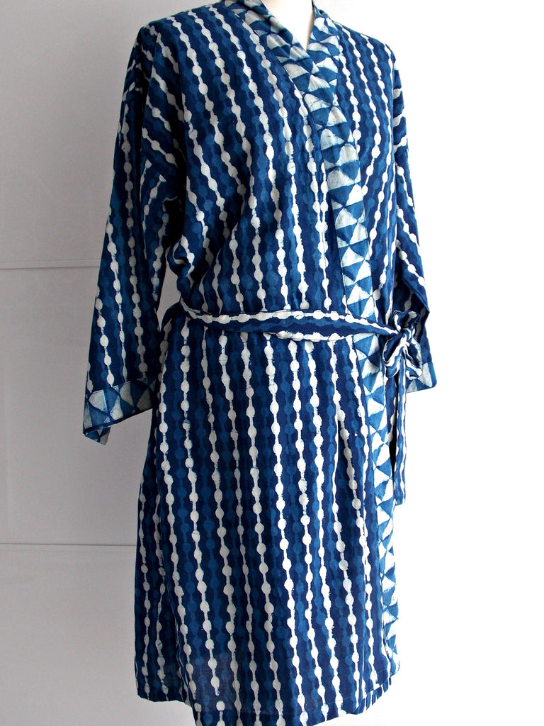 Indigo Dyed Kimono Robe - Dotted Block Print | Hand Block Printed | Cotton | An Indian Summer