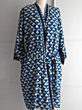 Indigo Dyed Kimono Robe - Geometric Block Print - An Indian Summer