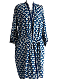 Indigo Dyed Kimono Robe - Geometric Block Print | Hand Block Printed | Cotton | An Indian Summer