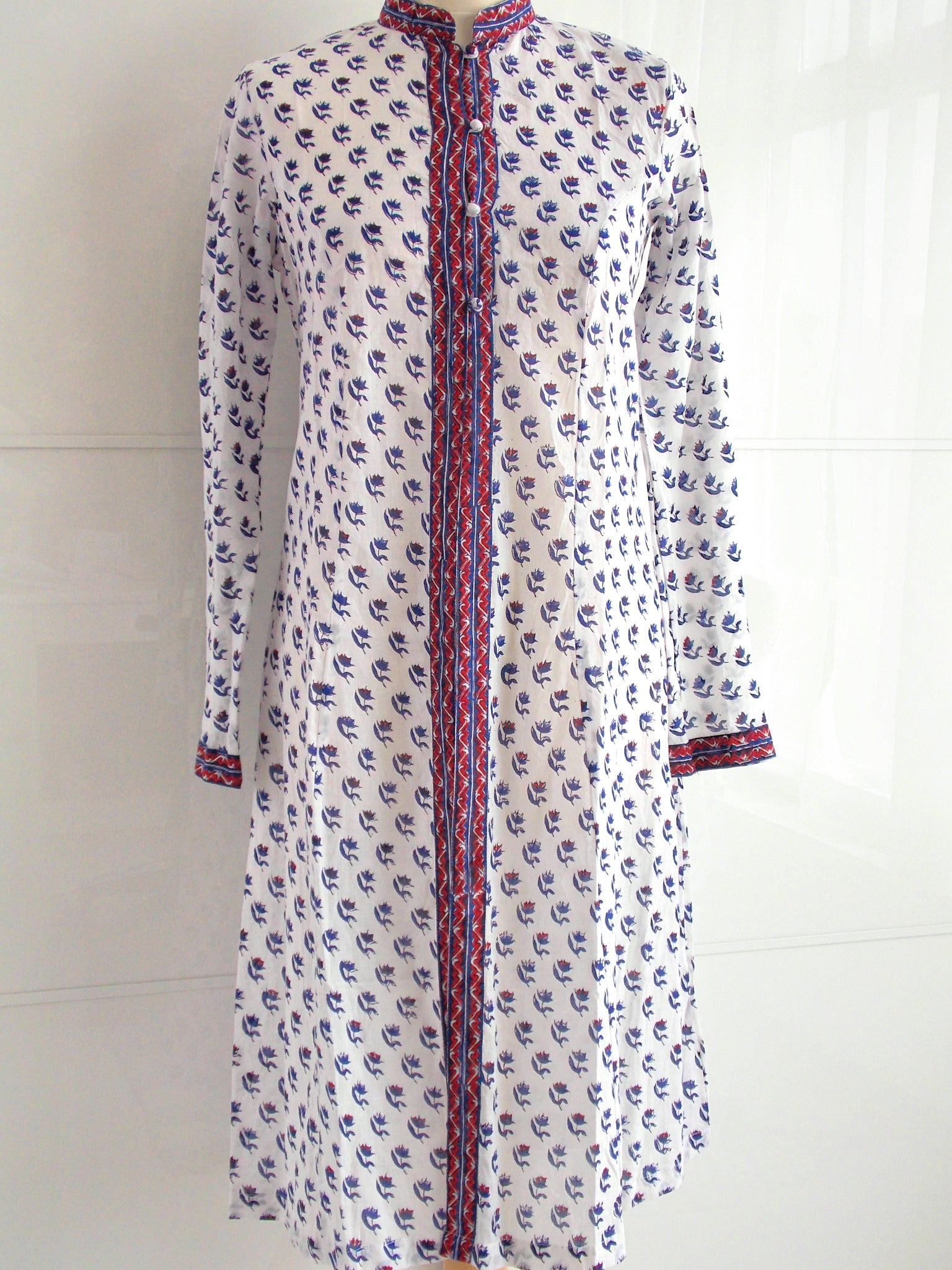 Stand Up Collar Long Jacket - Blue & Red - An Indian Summer