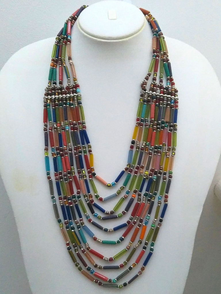 Jagavi Multicoloured Glass Beads Layered Statement Necklace | An Indian Summer