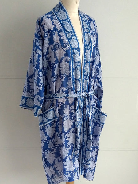 Kimono Robe | Japonica Block Print | Paisley Design | Hand Block Printed | Cotton Voile | Artisan | An Indian Summer