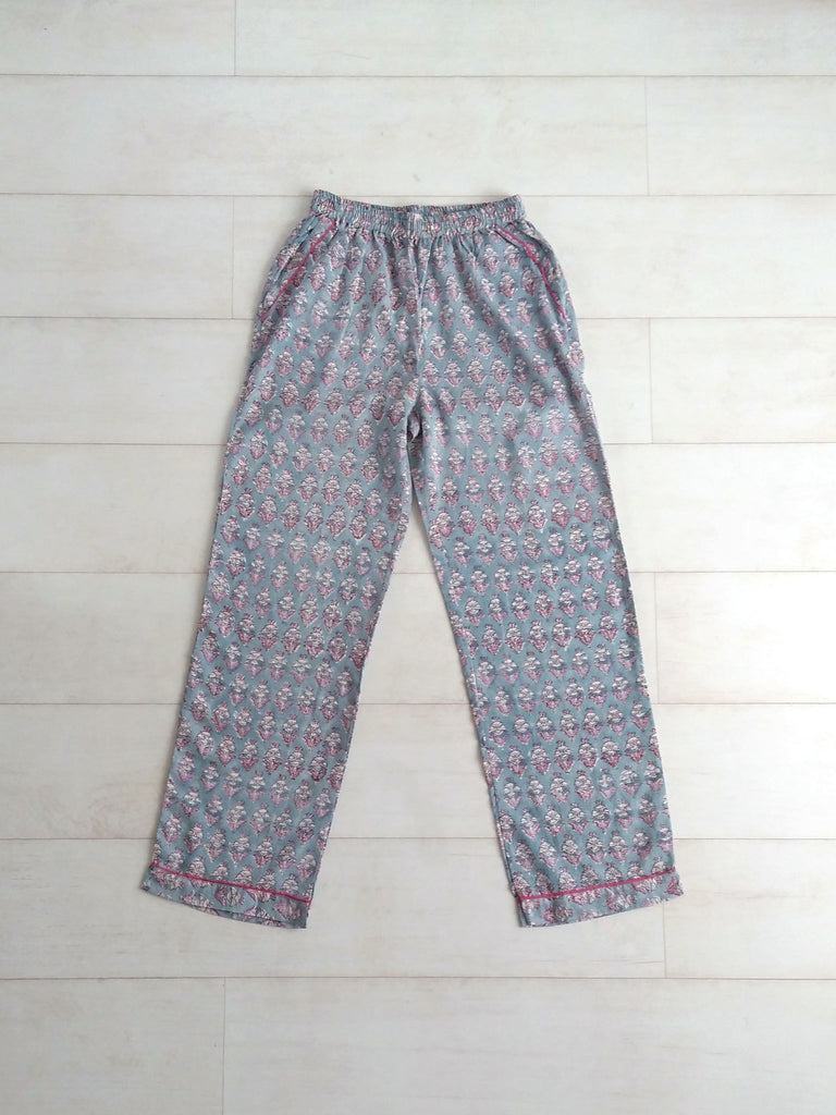 Jasmine Floral Print | Lilac Lavender Purple | Pyjama Bottoms | Hand Block Printed | Cotton Voile | An Indian Summer