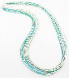 Long Multi-Strand Beaded Necklace - Turquoise & Silver