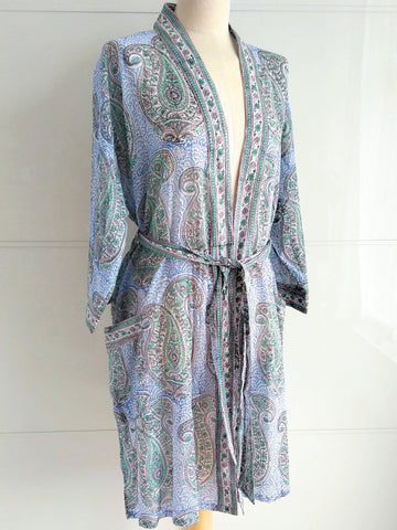 Kimono Robe - Paisley Block Print - Kashmir - An Indian Summer
