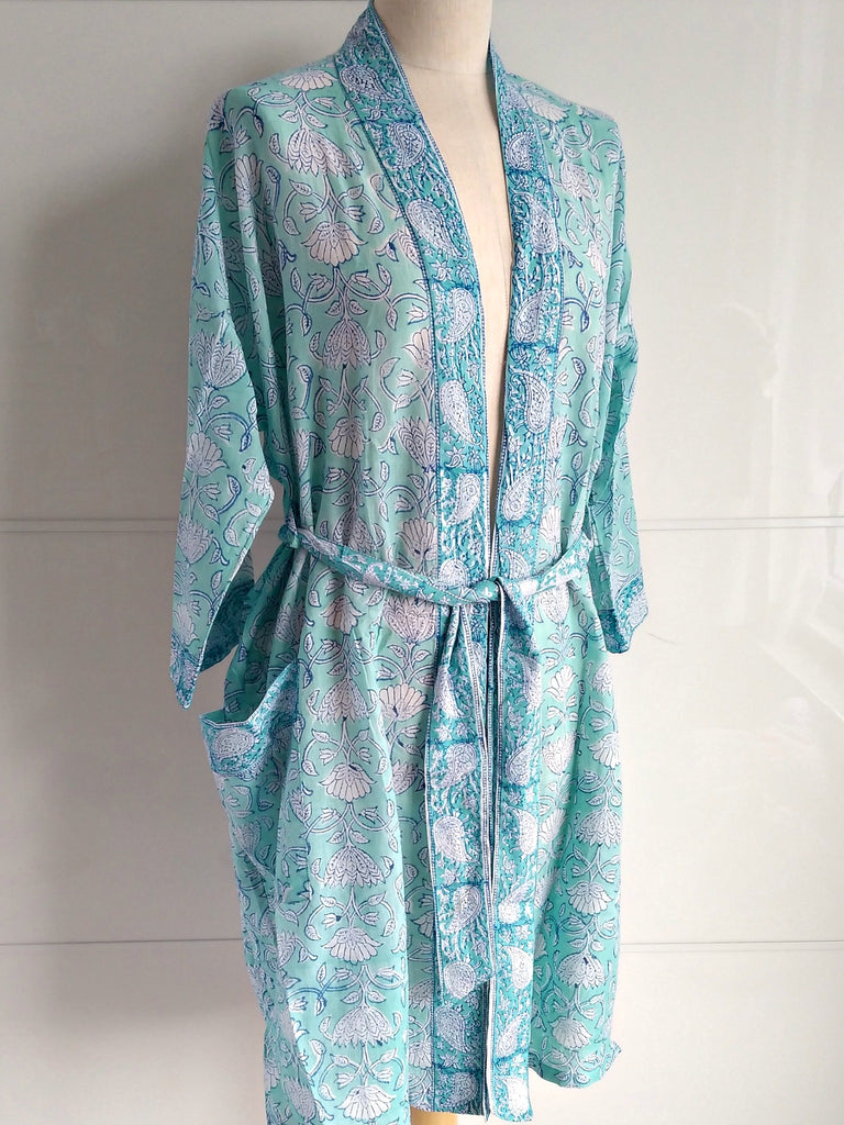 Kimono Robe - Lotus Block Print - Aqua - Hand Block Printed - Cotton - An Indian Summer
