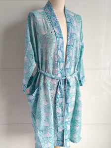 Kimono Robe - Lotus Block Print - Aqua - An Indian Summer