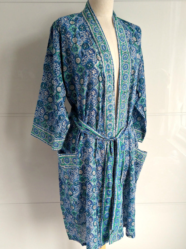 Kimono Robe - Mosaic Block Print Blue - Hand Block Printed - Cotton - An Indian Summer