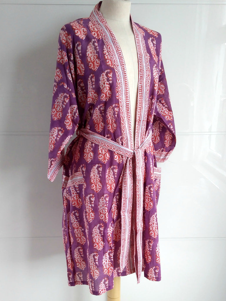 Kimono Robe - Paisley Block Print - Purple & Red - An Indian Summer