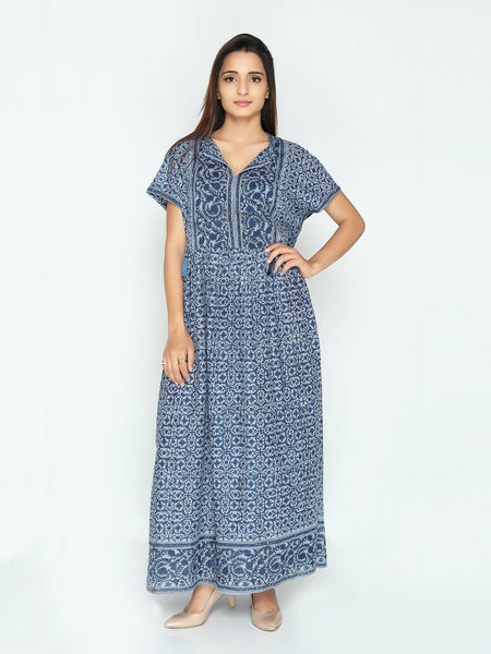 Blue Laura Dress - Floral Print - Cotton - An Indian Summer