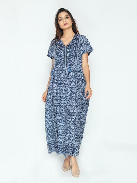 Laura Dress - Blue Floral Print - Cotton - An Indian Summer