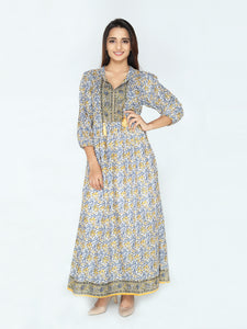 Laura Dress - Yellow & Blue Floral Print - Cotton - An Indian Summer
