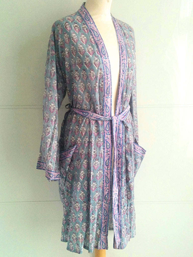 Jasmine Floral Print | Lilac Lavender Purple | Kimono Robe | Hand Block Printed | Cotton Voile | An Indian Summer