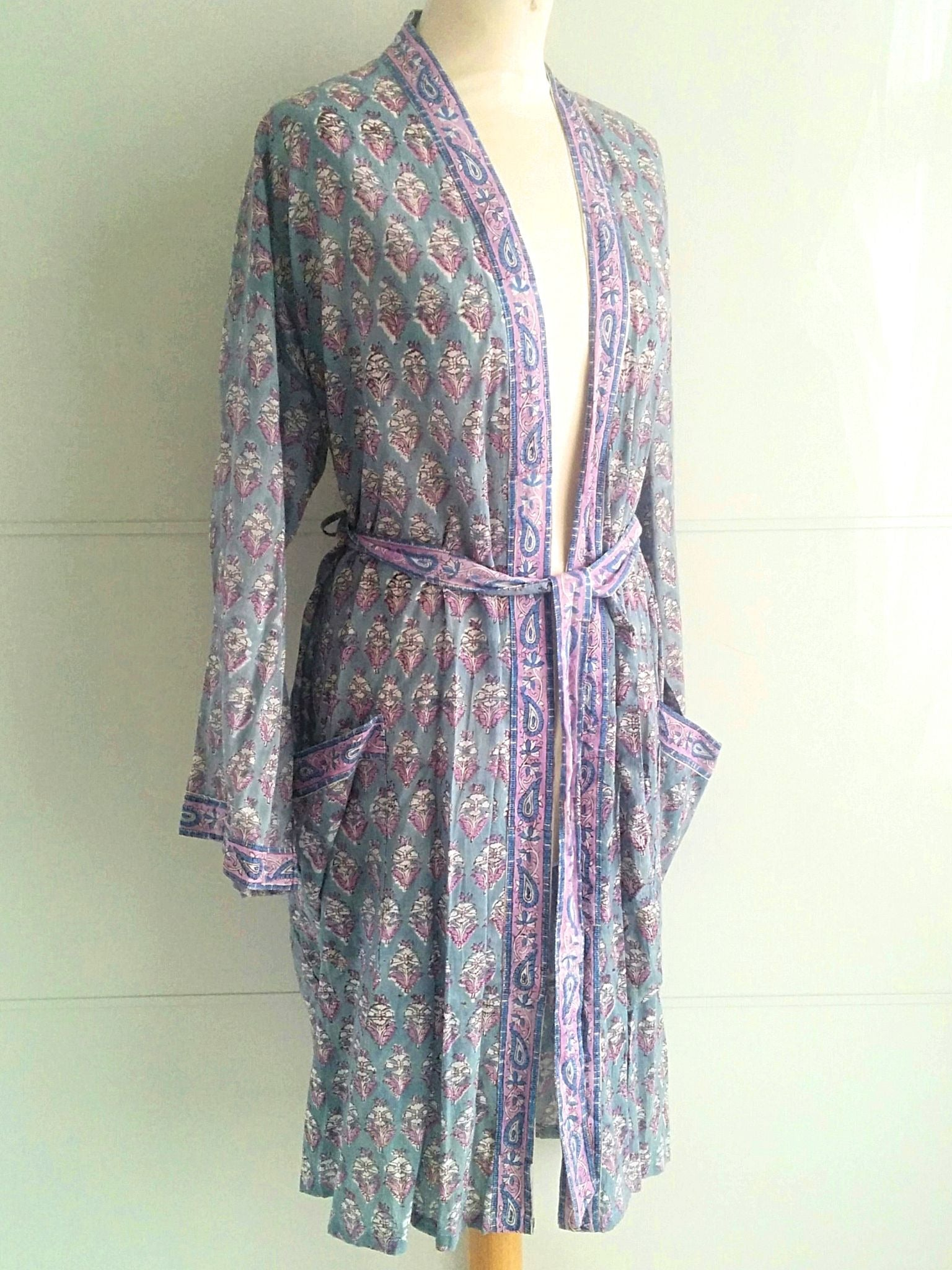 Kimono Robe - Floral Block Print - Jasmine - An Indian Summer