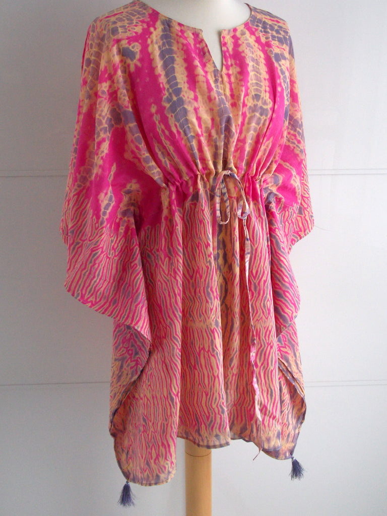 Lila Poncho Kaftan | Resortwear | Shibori Tie Dye | Pink Purple | Tassels | Cotton Voile | An Indian Summer
